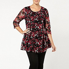 Evans - Cranberry floral lace gypsy top