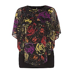 Evans - Black floral printed cape top