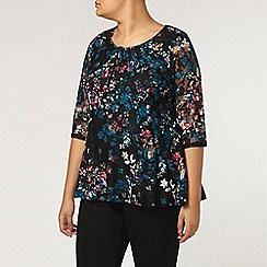 Evans - Green printed lace top