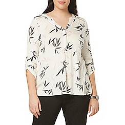 Evans - Ivory and blush oriental print shirt