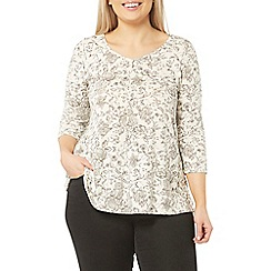 Evans - Ivory and black floral top