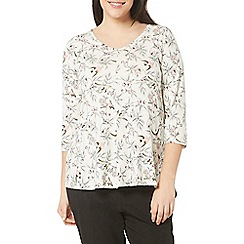 Evans - Ivory and blue bird print top