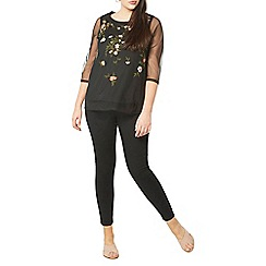 Evans - Black floral embroidered top