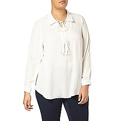 Evans - Ivory lace up blouse