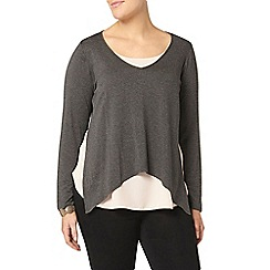 Evans - Grey and pink layered top