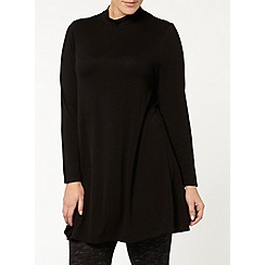 Evans - Black jersey roll neck tunic