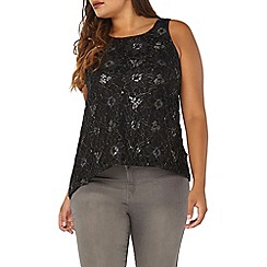 Evans - Black shimmer lace top