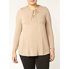 Evans - Tan lace up neck top