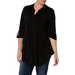 Evans - Black pintuck shirt