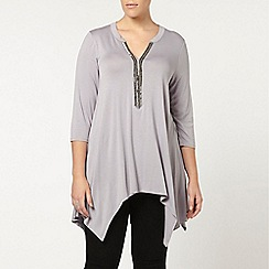 Evans - Grey embellished jersey top