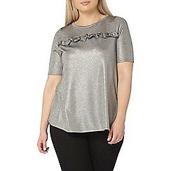 Evans - Evans grey metallic frill front top