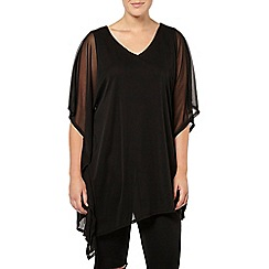 Evans - Black asymmetric cape top