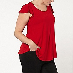 Evans - Red frill sleeve top