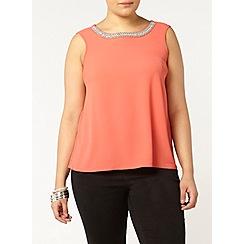 Evans - Coral embellished neck vest