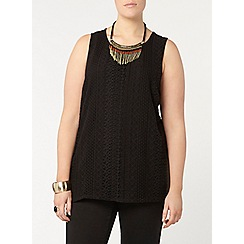 Evans - Black lace vest top