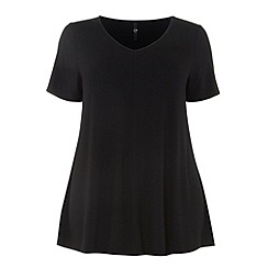 Evans - Black short sleeve swing top