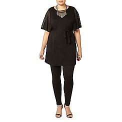 Evans - Black lace sleeve tunic