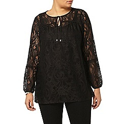 Evans - Black lace tie neck top