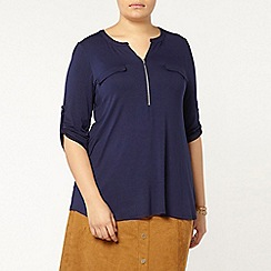 Evans - Navy blue jersey zip front shirt