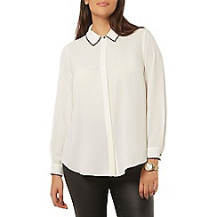 Evans - Ivory and black embroidered shirt