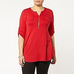 Evans - Red jersey zip front shirt