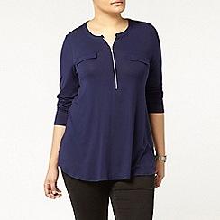 Evans - Navy jersey zip front shirt