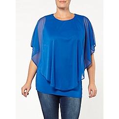 Evans - Blue mesh cape top