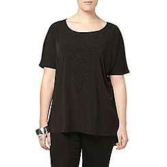 Evans - Black beaded jersey top