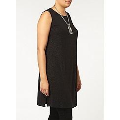 Evans - Black glitter long line vest