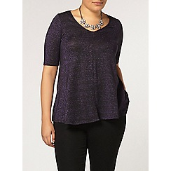 Evans - Purple v neck sparkle top