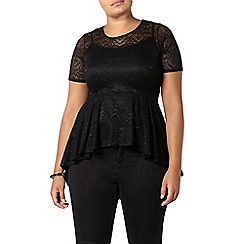 Evans - Black lace peplum hem top