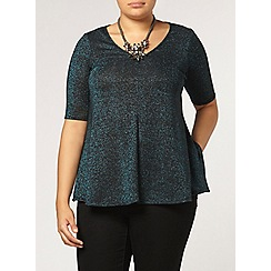 Evans - Blue sparkle v neck top