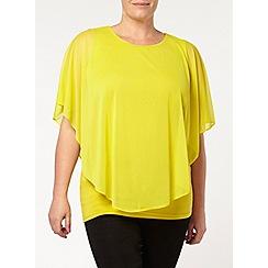 Evans - Yellow mesh cape top