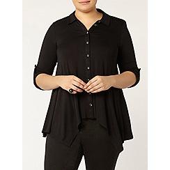 Evans - Black jersey hanky hem shirt