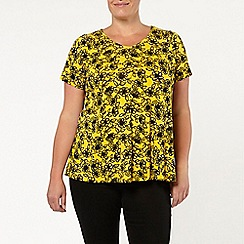 Evans - Yellow marigold floral print swing top