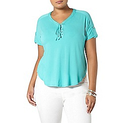 Evans - Aqua green lace up top