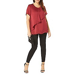 Evans - Red satin frill top