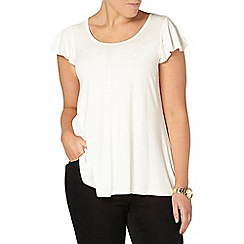 Evans - Ivory frill sleeve top