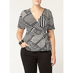 Evans - Stripe hourglass fit  wrap top