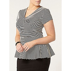 Evans - Black and white stripe peplum top