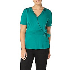 Evans - Green hourglass fit wrap top