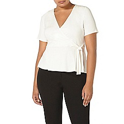 Evans - Ivory hourglass fit wrap top