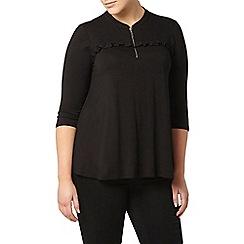 Evans - Black jersey frill shirt