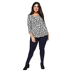 Evans - Black and white floral print top