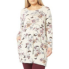 Evans - Ivory floral print tunic