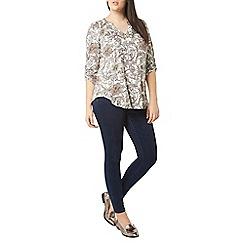 Evans - Ivory floral foil print shirt