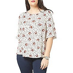 Evans - Ivory rose and polka dot print top
