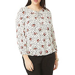 Evans - Ivory rose and spotted print top
