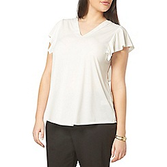 Evans - Ivory ruffle shoulder top