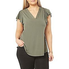 Evans - Green ruffle shoulder top